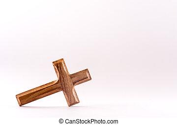 キリスト教徒, 木製である, 交差点, 背景, 小さい, 白