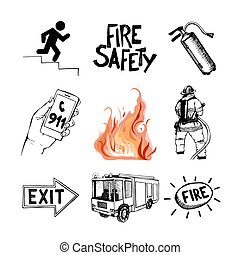 Fire safety and means of salvation. Icons set. - Fire safety...