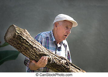 Old man carrying trunk - Senior man carrying big heavy tree...
