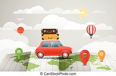 Travel vector illustration. Vacation concept with the red car