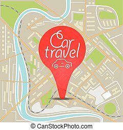Abstract city map flat design illustration with the pin Car...