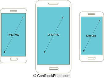 Different modern smartphone resolutions mockups isolated on...