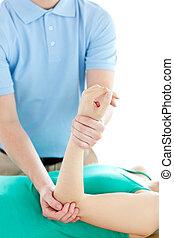 Un, terapeuta, condición física, ejercicios