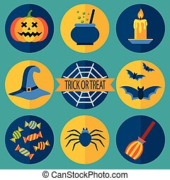 Trick or Treat. Halloween icons set, vector illustration in...