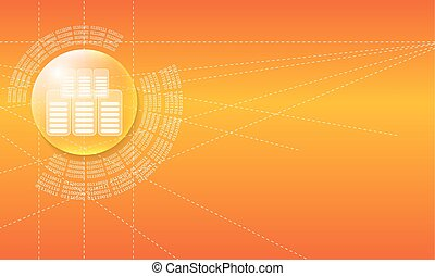 Vector abstract background with a circular binary code and...