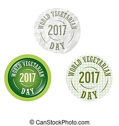 Set of three circular icons with the words world vegetarian day