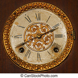 Antique Wind Up Clock Face with Roman Numerals