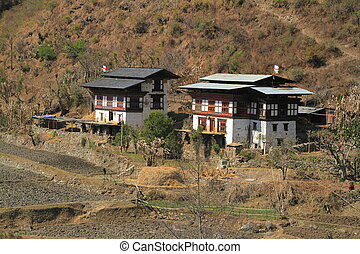 Countryside houses, Bhutan - Typical Bhutanese architecture...