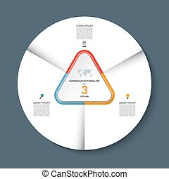 Vector infographic circle template with 3 steps or options....