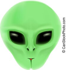 The alien portrait white bk - The alien with green face and...