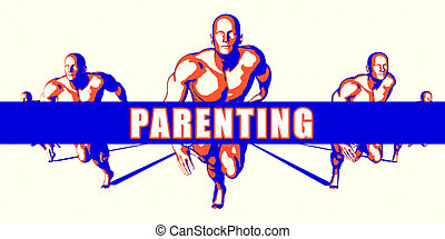 Parenting as a Competition Concept Illustration Art