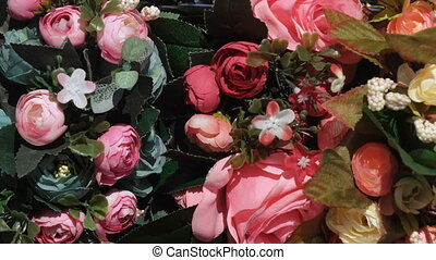 Artificial flowers in stock - Panorama of the beautiful...