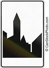 área,  -, urbanizado, señal,  regulatory, camino, belga