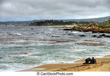 Scuba Divers Monterey Bay California - Scuba divers on beach...