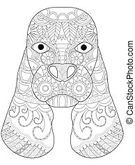 Dog Cocker Spaniel head coloring vector for adults - Dog...