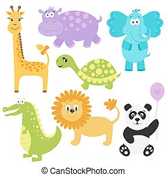 Vector  illustration  of  cute  cartoon  animals.