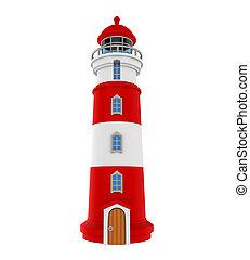 Red Lighthouse Isolated - Red Lighthouse isolated on white...