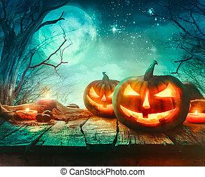 Halloween design with pumpkins
