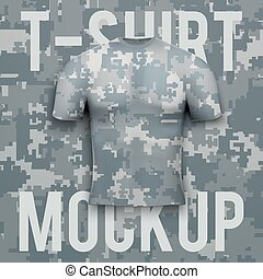 Camouflage t-shirt on background. Product mockup. -...