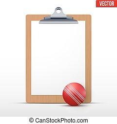 Coaching blank clipboard and cricket ball. Editable Vector...