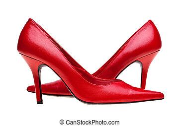 damas, rojo, alto, talones, zapatos, aislado