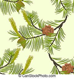 Seamless texture blooming pine tree and pine cones...