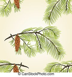 Seamless texture pine branch with pinecones Vector.eps -...
