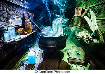 Magical witch workshop with blue and green smoke for...
