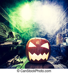 Spooky Halloween pumpkin in witcher labolatory with copy...