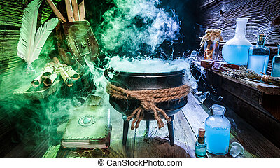 Full of magic mixture in witch hut with books and blue...