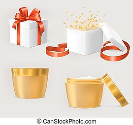 Vector set of illustrations for cosmetics containers.