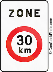 Belgian regulatory road sign - limited speed zone.