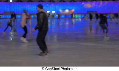 Soft focus clip of ice rink inside Sokolniki Park. Moscow,...