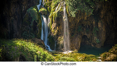 Waterfalls in Plitvice Lakes Croatia