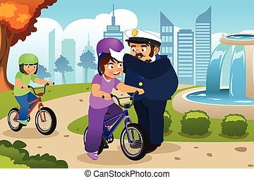 Police Officer Putting on Helmet on a Kid Riding a Bike