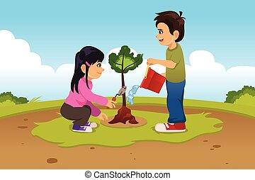 Kids Planting and Watering a Tree
