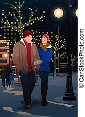 Couple Walking on the Street on a Winter Evening