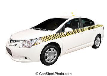 táxi, car, isolado