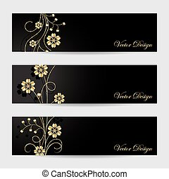 Set of horizontal banners. Gold flowers with shadow on dark...