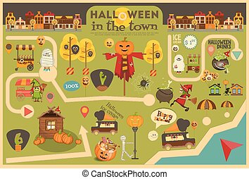 Halloween in Town - Street Food and October Party Symbols on...