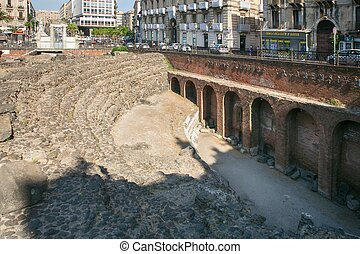 Remains of the Roman amphitheatre in the historic centre of...
