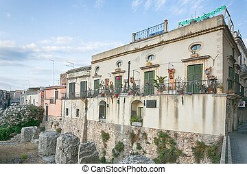 House in th old town of Syracuse, Sicily, Italy - House in...