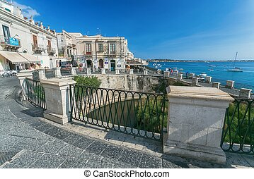 Aretusa Fountain in Ortigia, Syracuse, Sicily, Italy -...