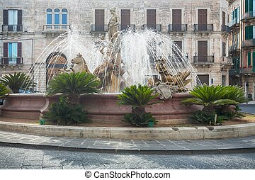 The fountain of Diana in Syracuse - Diana fountain in the...