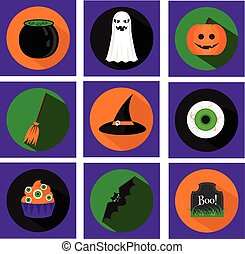 Halloween vector flat icons with holiday symbols and long shadows