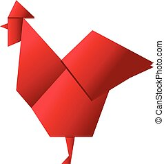 Red Rooster in Origami Style vector icon