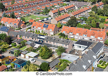 Aerial view family houses with backyards in Emmeloord, The Netherlands