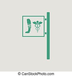 Vet clinic icon Gray background with green Vector...