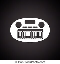 Synthesizer toy ico. Black background with white. Vector...