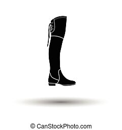 Hessian boots icon. White background with shadow design....
